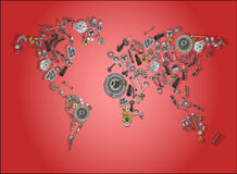 World map made up of spare parts. Draw a big map of the world made up of spare parts royalty free stock image