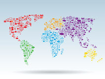 World map. Made up of technology and communication icons Royalty Free Stock Photography