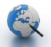 World Map and Magnify Glass Royalty Free Stock Image