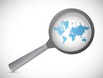 World map magnify illustration design Stock Image