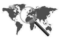 World Map Magnifying Glass Illustration. World map with magnifying glass illustration isolated on a white background royalty free illustration