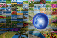 The world map with many nature photos Stock Photos