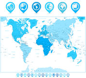 World Map with map pointers and continents in colors of blue iso Royalty Free Stock Image