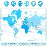 World Map with map pointers and continents in colors. Of blue isolated on white. Highly detailed map illustration with countries, cities and navigation symbols stock illustration