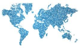 World Map, map, stylized, blue squares Stock Image
