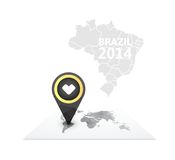 World map with a marker on Brazil Royalty Free Stock Image