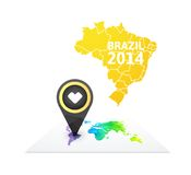 World map with a marker on Brazil Stock Image