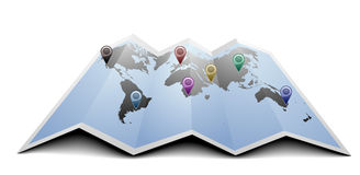 World map with markers Royalty Free Stock Image