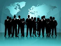 World Map Means Group Of People And Businessmen Stock Image