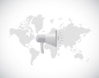World map megaphone message Royalty Free Stock Image