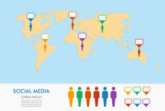 World map, men figures and geo position pointers infographics. royalty free stock photo