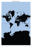 World map (Mercator Projection) stock images