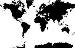 World Map - Mercator Projection. A black and white vector world map in Mercator projection, showing longitudes and latitudes stock illustration