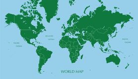 World map, Mercator projection with boundary line. With color vector illustration