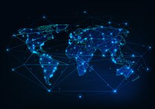 World map mesh with continents outline made of lines, dots, stars, triangles and surrounded by abstract framework. Globalization, internet connection Stock Photos