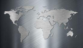 World map on metal plate Stock Photography