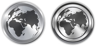 World map on metallic circle elements Stock Photos