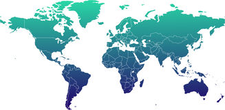 World Map - Miller Cylindrical Projection Royalty Free Stock Images