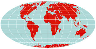 World Map - Mollweide Projection Stock Images