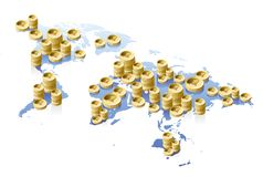 World map and money concept Royalty Free Stock Images