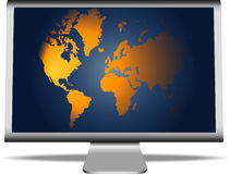 World map on monitor Stock Photo