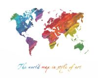 World map multi-colored Stock Photography