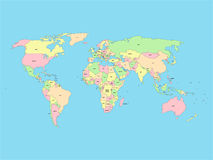 World map with names of sovereign countries and larger dependent territories. Simplified vector map in four colors on. Blue background Royalty Free Stock Photos