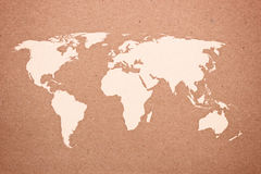 World map on natural brown recycled paper Stock Photos