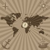 World map with nautical symbols Stock Photo