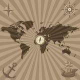 World map with nautical symbols Stock Photo