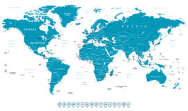 World Map and navigation icons - illustration Stock Photos