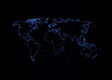 World Map - Neon Outline Royalty Free Stock Photography