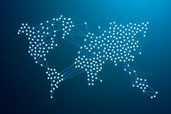 World map network. Blockchain network concept. Vector Illustration. Wire Frame 3D mesh polygonal network line, design sphere, dot and structure Royalty Free Stock Photography