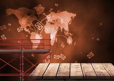 World Map Network with 3D Scaffolding Royalty Free Stock Photography