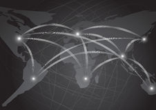 World map network dark abstract background illustration  Stock Photography
