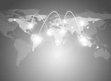 World map and network with lines Royalty Free Stock Photo