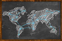 World map networking blue chalk Royalty Free Stock Photography