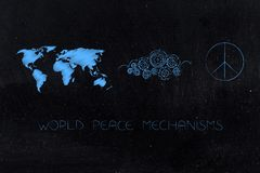 World map next to gearwheel mechanism elaborating a peace symbol. World peace mechanisms conceptual illustration: world map next to gearwheel mechanism Royalty Free Stock Image
