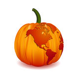 World map North America on Halloween pumpkin, illustration,  Royalty Free Stock Photos