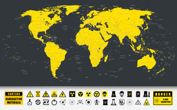 World Map and Nuclear Power technology icons Stock Photos