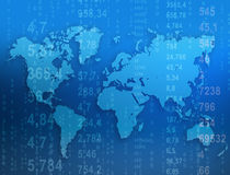 World map with numbers located on a blue Stock Photography