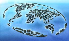 world map in the ocean Stock Photography