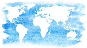 World map and ocean.Earth. Watercolor hand drawn illustration.White background Stock Images