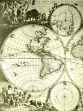 World map, old antique. An image showing an ancient vintage world map with globes and poles. Four parts to map, showing western hemisphere, as well as north pole stock image