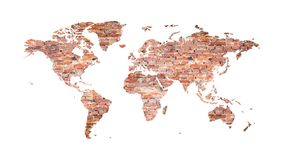 World map from old bricks in loft style vector illustration