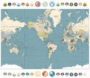 World Map old colors illustration with round flat icons and glob Stock Images