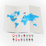 World map on old map and flags of different countries Stock Images