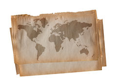 World map on old paper. World map on stack of old paper Stock Photo