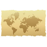 World map on old paper. Illustration of the world map on old, yellowed paper vector illustration
