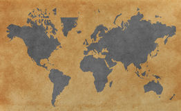 World map with old paper background Stock Photo